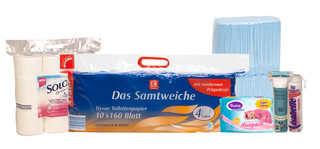 Paper hygiene products - Toilet paper, cotton pads, wet wipes